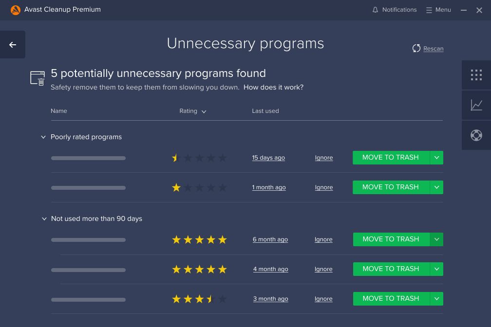 Unnecessary Programs Screen